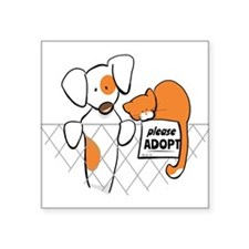 "Adopt Pets Patch Rusty Square Sticker 3"" x 3"""