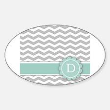 Letter D Mint Monogram Grey Chevron Decal