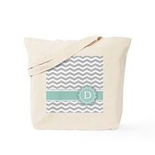 Letter D Mint Monogram Grey Chevron Tote Bag