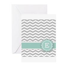 Letter E Mint Monogram Grey Chevron Greeting Cards