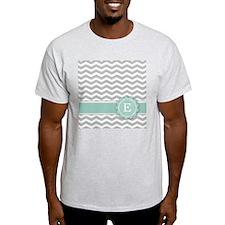 Letter E Mint Monogram Grey Chevron T-Shirt