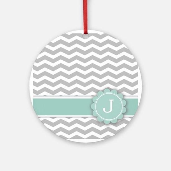 Letter J Mint Monogram Grey Chevron Ornament (Roun