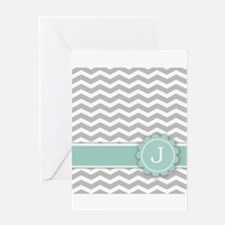Letter J Mint Monogram Grey Chevron Greeting Cards
