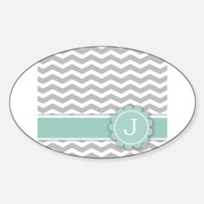 Letter J Mint Monogram Grey Chevron Decal