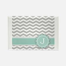 Letter J Mint Monogram Grey Chevron Magnets