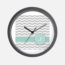 Letter J Mint Monogram Grey Chevron Wall Clock