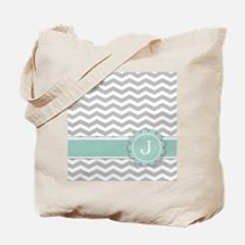 Letter J Mint Monogram Grey Chevron Tote Bag