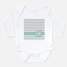 Letter J Mint Monogram Grey Chevron Body Suit