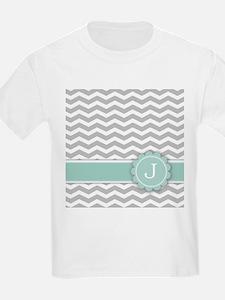 Letter J Mint Monogram Grey Chevron T-Shirt