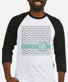 Letter J Mint Monogram Grey Chevron Baseball Jerse