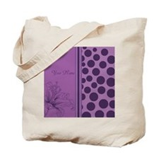 Purple Polka Dots Orchids - Personalized Tote Bag