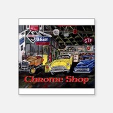 Chrome Shop Old Car Calender Sticker