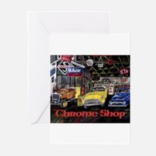 Chrome Shop Old Car Calender Greeting Cards