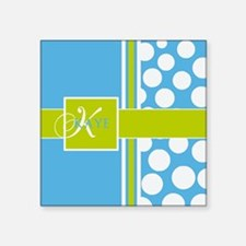 Sky Blue Green Polka Dots Monogram Square Sticker
