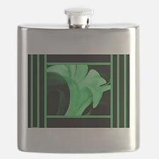 Modern Green Floral Flask