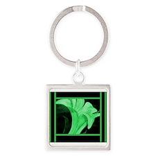 Modern Green Floral Keychains