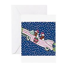 Dachshund Santa's In Their Chrstmas Pink Cadillac