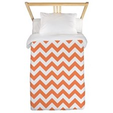 Nectarine Orange White ZigZag Twin Duvet