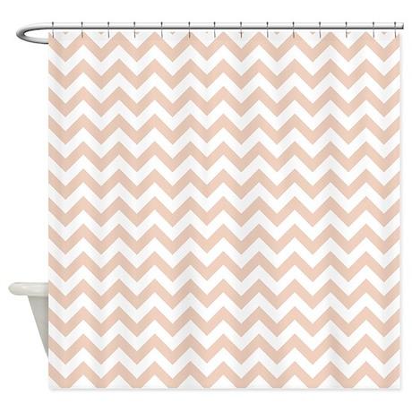 Linen Beige And White ZigZag Shower Curtain By ZandiepantsHomeDecor