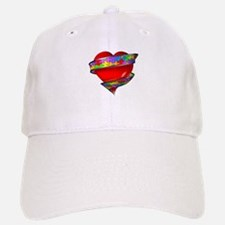 Red Heart w/ Ribbon Baseball Baseball Cap