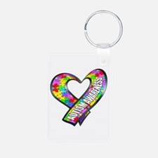 Puzzle Ribbon Heart Aluminum Photo Keychain