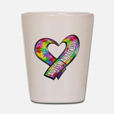 Puzzle Ribbon Heart Shot Glass