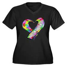 Puzzle Ribbon Heart Women's Plus Size V-Neck Dark