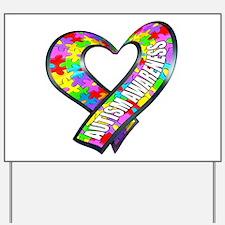 Puzzle Ribbon Heart Yard Sign