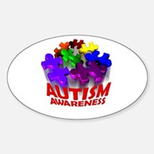 Autism Puzzle Jump Oval Decal