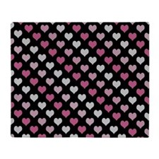 Pink and white hearts pattern Throw Blanket