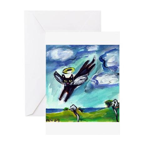 Black cat angel flys free Greeting Cards