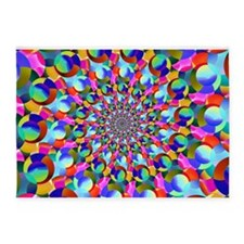 Rainbow Spiral Fractal Art 5'x7'Area Rug