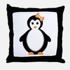 girl penguin Throw Pillow