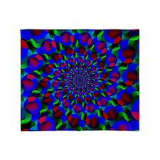 Blue Hippie Spiral Fractal Art Pattern Throw Blank