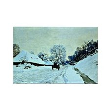Monet - Cart on the Snow-Covered  Rectangle Magnet