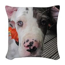 Dane Puppy Daisy Woven Throw Pillow