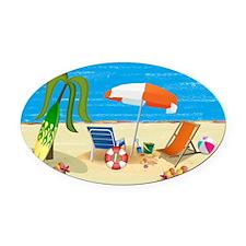 Beach Fun Oval Car Magnet