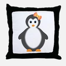 baby girl penguin Throw Pillow