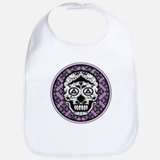 Lavender Black sugar style skull on damask Bib