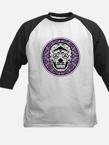 Lavender Black sugar style skull on damask Basebal