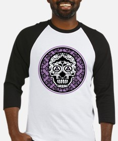 Lavender Black sugar style skull on damask Basebal