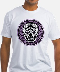 Lavender Black sugar style skull on damask T-Shirt