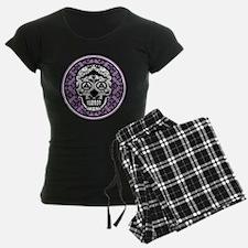 Lavender Black sugar style skull on damask pajamas