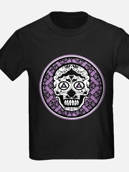 Lavender Black sugar style skull on damask T-Shirt