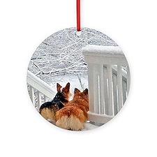 Two Corgis in winter snow Ornament (Round)