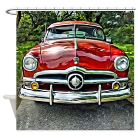 Vintage Red 1950 Ford Coupe Car Shower Curtain