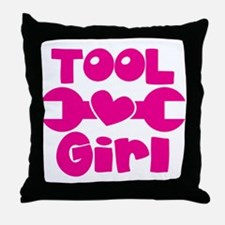 Tool Girl with a spanner Throw Pillow