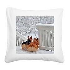 Two Corgis in winter snow Square Canvas Pillow