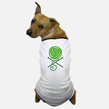 Green knitting Crossbones Pirate knitter Dog T-Shi