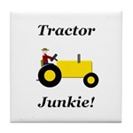 Yellow Tractor Junkie Tile Coaster